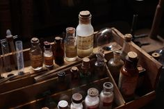 Antique French box with chemicals, tubes. (Mademoiselle Loulou*'s blog, October 2011)