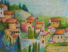 Italian Veneto Hill Village Original  Impressionism colorful Landscape Painting in Frame by  Jeff Sterling.