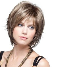 Elegante Destaque peruca sintética Natural encaracolado cabelo Capless lado Bang