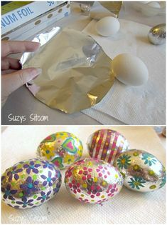 Foiled Covered Easter Eggs. Think outside the Carton with these Easter Egg Dying Ideas on Frugal Coupon Living - Shaving Cream, Crayons, Chalk, Foil and more ideas to explore for you Easter Craft Ideas.