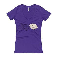Home is where my yellow labrador is Women's V-Neck T-shirt