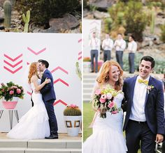 Katie Leclerc and Brian Habecost Wedding In Palm Springs - Bride and groom at the alter and down the aisle Katie Leclerc, Wedding Details, Wedding Ideas, Spring Wedding Inspiration, Altars, Palm Springs, Real Weddings, Groom, Events