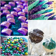 Peacock-colored wedding decor with candy! www.headoverheelsweddingblog.com
