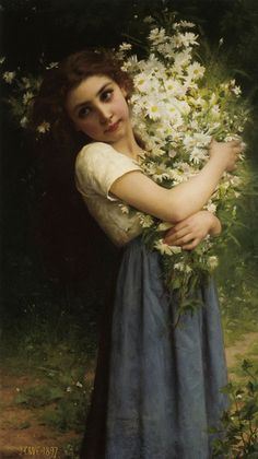 painting renaissance Jules-Cyrille Cavé (French, , The flower girl Old Paintings, Classic Paintings, Beautiful Paintings, French Paintings, Renaissance Kunst, Renaissance Paintings, Famous Renaissance Art, Rennaissance Art, William Adolphe Bouguereau