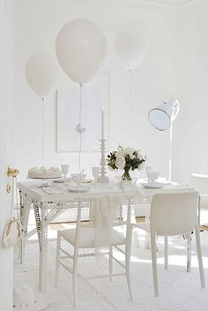 Party Ready White Dining Room Table