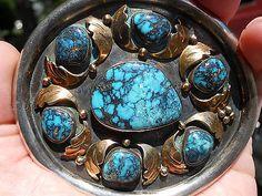 Sterling-Silver-14k-Gold-Navajo-Blue-Diamond-Spiderweb-Turquoise-Belt-Buckle-NR