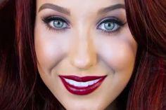 Blue eyes and dark red hair love it!