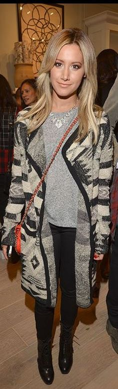 Who made  Ashley Tisdale's red handbag, gray print cardigan sweater, and black skinny jeans that she wore in Beverly Hills?