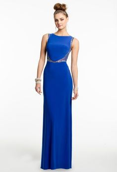 Sequin Beaded Illusion Sides Prom Dress #camillelavie #CLVprom