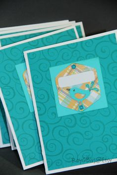 Spring Chicken Blank Cards Teal & Coral