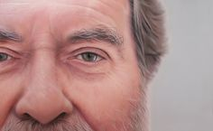 Simon Hennessey is a hyperrealist that specializes in portraiture and the human figure. His close ups of people's faces can truly be appreciated when you start staring at the little details. Notice the hair, the wrinkles and image in the eyes (3rd picture).
