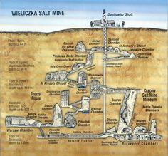 Wieliczka, Poland - map of the underground salt mine. Poland Map, Poland Travel, Krakow Poland, Warsaw Poland, Places To Travel, Places To See, Wieliczka Salt Mine, World Youth Day, St Anthony's