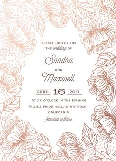 wedding invitations - Outlined Florals by Anupama