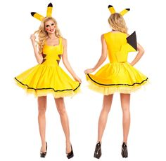 Pokemon Pikachu Women Adult Halloween Costume Sexy Fancy Party Yellow Cartoon #other #Dress