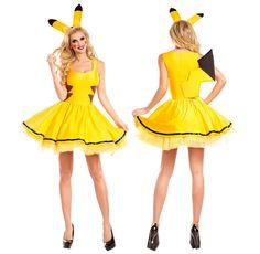 Pokemon Pikachu Women Adult Halloween Costume Sexy Fancy Party Yellow Cartoon #other #Dress