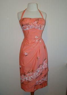 1950's Coral Hawaiian Halter 50's Sun Dress Tiki | Etsy 1950s Party Dresses, 50s Dresses, Rust Color, Coral Color, Hawaiian Sundress, Vintage Hawaiian, Lord & Taylor, Absolutely Gorgeous, Skirt Fashion