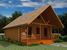 Simple Cabin Plans with Loft | Log Home Floor Plans | American Log Homes Floor Plan - The Missouri