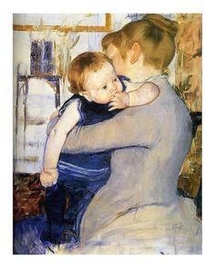 Giclee Print: Child in Blue by Mary Cassatt : 20x16in Edgar Degas, Renoir, Camille Pissarro, Mary Cassatt Art, Mother And Child Painting, Cincinnati Art, Berthe Morisot, Impressionist Artists, Manet