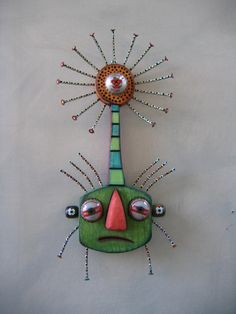 Bloomin', Original Found Object Sculpture, Wood Carving, Wall Art, by Fig Jam Studio