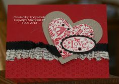 Valentine's day card made with Stampin'UP! fabric and supplies.
