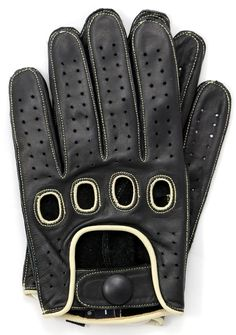 Riparo Reverse Stitched Leather Driving Gloves Black/White
