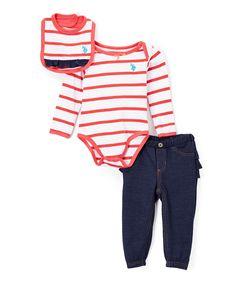 Tea Berry & White Stripe Bodysuit Set - Infant