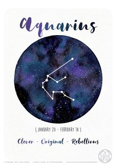 Astrology Card - Aquarius Sign - Horoscope - Aquarius Constellation - Watercolor Planet - Galaxy Illustration ♣ ITEM DETAILS Available sizes: -> x cm -> x inches) -> 21 x cm -> x inches) Available versions: 2 -> French -> English High-quality printing Aquarius Constellation Tattoo, Aquarius Horoscope, Zodiac Signs Aquarius, Zodiac Art, Constellation Drawing, Watercolor Sky, Watercolor Artwork, Art Zodiaque, Planet Drawing