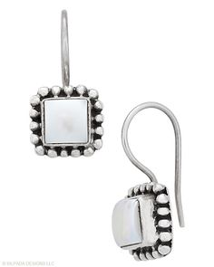 The cool square cut is a nice twist to the classic combination of Pearls and Sterling Silver.