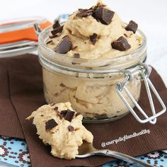 Healthy Protein Cookie Dough!! 3/4 scoop Vanilla protein powder 2 TBSP peanut or nut butter 1 TBSP milk (you can use anything from skim to almond or coconut) 1 TBSP chocolate chips, or isadelights crumbled up! mix until you get a dough like consistency!!!! Enjoy!! Www.energeticfitandhealthy.com