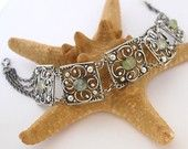 Five Elements-Fine/Sterling Silver and Prehnite bracelet