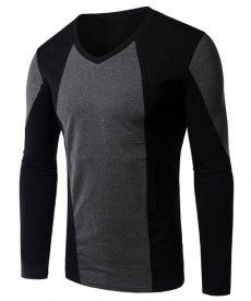 #yoshop.com - #yoshop Splicing Design V-Neck Long Sleeve Slimming T-Shirt For Men - AdoreWe.com