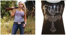 1. Bling Tank Top A bling tank top is like a country girls'tiara, wear it loud and proud. (TRS Version: Black Rhinestone Bling Studded Faith with Cross Tank Top $19.99)