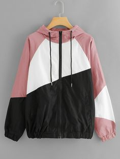 Shop Cut And Sew Hooded Windbreaker Jacket online. SHEIN offers Cut And Sew Hooded Windbreaker Jacket & more to fit your fashionable needs. Cool Outfits, Fashion Outfits, Womens Fashion, Mode Hijab, Young Models, Windbreaker Jacket, Hoodies, Sweatshirts, Fashion News