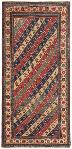 Caucasian Gendje, 3ft 6in x 7ft 4in, 3rd Quarter, 19th Century. One of the signature design formats of the beloved Gendje Caucasian carpet substyle, diagonally striped pieces, are rarely encountered, almost all examples now residing in collector's hands. This superb Caucasian Gendje antique rug is an exception that distills the challenge and splendor of life in this high Caucasian mountain region.