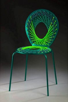 Cool Colorful Chair Design..use an old chair and redesign with string