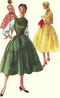 1950s Dress Pattern Jumper Blouse Misses Uncut Size 14 Bust 32 Inches -- reminds me of Leslie Caron in An American in Paris