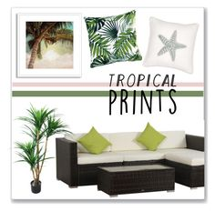 """Tropical Prints"" by overstock ❤ liked on Polyvore featuring interior, interiors, interior design, home, home decor, interior decorating, TradeMark, Summer, homedecor and tropicalprints"