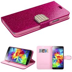 Book-Style Glittering Diamante Belt Case for Galaxy S5 - HotPink