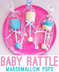 Baby rattle marshmallow pops - a cute baby shower favor! So doing this at my sweet soon to arrive granddaughter's baby shower! Homemade Baby Shower Favors, Baby Shower Treats, Pop Baby Showers, Baby Shower Fun, Baby Shower Gender Reveal, Baby Shower Parties, Baby Boy Shower, Baby Shower Gifts, Baby Showe Favors
