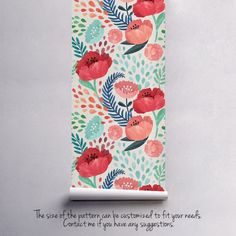 Vintage poppy flower wallpaper Nursery wallpaper by floralCOLORAY Bedroom Wallpaper Murals, Wall Murals, Trendy Wallpaper, Flower Wallpaper, Vintage Wall Art, Vintage Walls, Papier Paint, Kindergarten Wallpaper, Art Mur