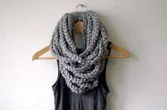 cowl, Scarf, Neck Warmer, Cowl, Infinity scarf, Circular Scarf (The Chain Warmer in Gray)