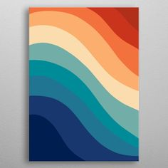 Retro Summer Wave 1 poster by from collection. By buying 1 Displate, you plant 1 tree. Retro Color Palette, Orange Color Palettes, Bright Color Schemes, Colour Pallette, Summer Color Palettes, Sunset Color Palette, Blue Palette, Bright Color Pallets, Orange Color Combinations