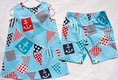 Nautical Collection  Boy and Girl Set  Twins Set  by LoopsyBaby, $37.00 #summerclothe #loopsybaby #nautical #babydress #boypants
