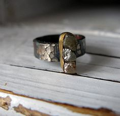 Rough Diamond Ring Oxidized Silver by HotRoxCustomJewelry on Etsy, $149.00
