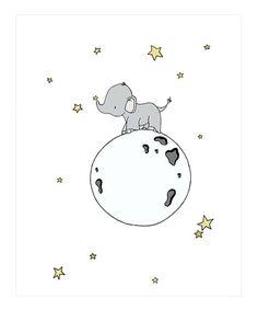 Loving this Elephant Moon Walk Print on #zulily! #zulilyfinds