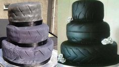 15 Disastrous Wedding Cakes That Brought Brides To Tears Now, I have to wonder why the tire wedding cake is even a thing to begin with | From kyngofdafuq