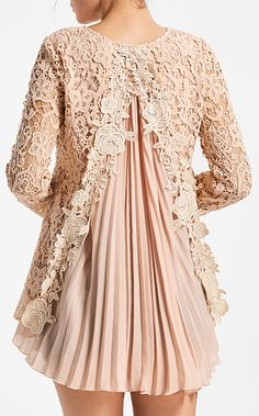 top outfits:Pleated High Low Lace Blouse
