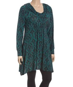 Another great find on #zulily! Hunter Green & Black Damask Cowl Neck Tunic - Plus #zulilyfinds