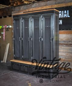Standard Dimensions: 72 W x 90 T x 16 D (top section) / 24.25 D (bottom section) Reclaimed Boxcar Oak seat and top Worn oak, walnut, mahogany, and cherry also available Lockers have woven wire mesh doors, and 3 internal clothing hooks under the top shelf Glass inserts in the doors instead of mesh available Bottom unit has 4 large drawers Also available without the bottom drawer section, or the bottom drawers only Some assembly required We recommend bolting the shelf to a wall for safe...