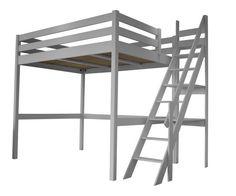 Lit Mezzanine adulte ou enfant gris alu avec son escalier de meunier. En bois massif, fabrication française. Disponible en 90, 120, 140 et 160x200 cm en 13 colories différentes. Possibilité d'incorporé un bureau et des étagères murales.